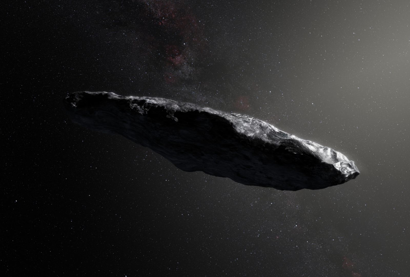 An illustration of 'Oumuamua, the first object we've ever seen pass through our own solar system that has interstellar origins. Image Credit: European Southern Observatory / M. Kornmesser