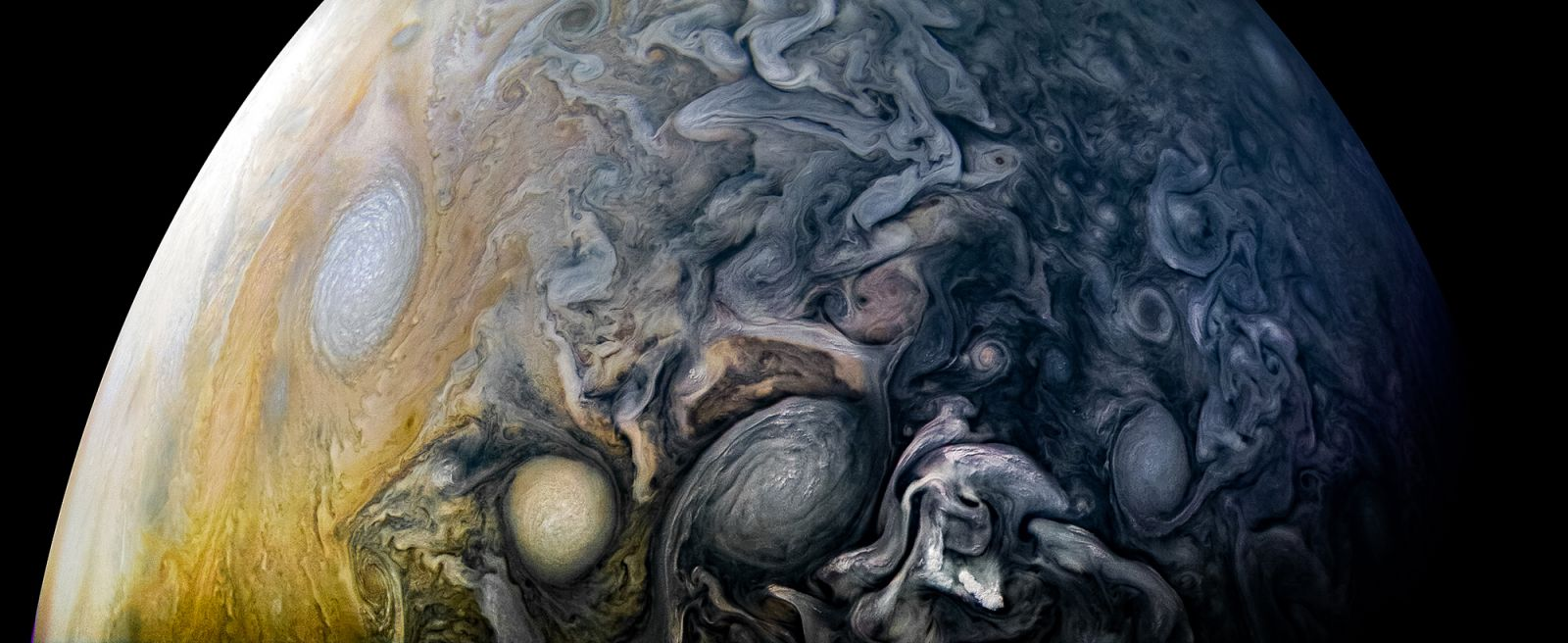 Jupiter's cloud tops as seen by Juno during its 12th perijove on April 1, 2018. Photo Credit: Kevin Gill / NASA / JPL-Caltech / SwRI / MSSS