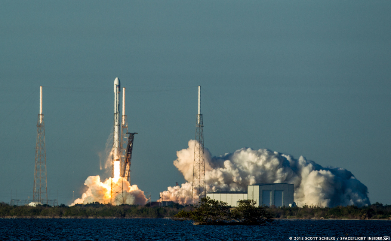 NASA's TESS spacecraft flies to orbit atop a SpaceX Falcon 9 rocket on Wednesday, April 18, 2018. Photo Credit: Scott Schilke / SpaceFlight Insider
