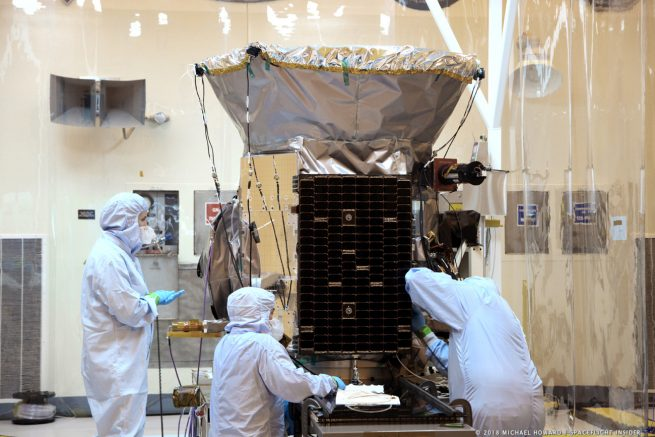 NASA's TESS spacecraft in the cleanroom at Kennedy Space Center in Florida, before its April 18, 2018, flight. Photo Credit: Michael Howard / SpaceFlight Insider