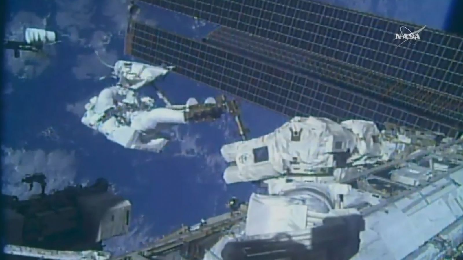 NASA astronaut Ricky Arnold at the end of the robotic Canadarm2 during U.S. EVA-50. Photo Credit: NASA TV