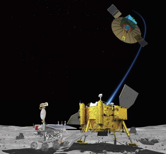 An artist's rendering of the Queqiao spacecraft acting as a relay satellite for the Chang'e 4 lander/rover combo. Image Credit: Chinese Academy of Sciences