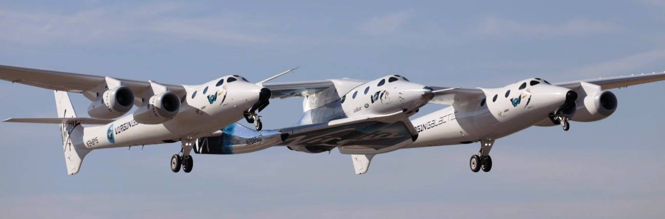White Knight Two and SpaceShip Two ascend during a test flight held on May 29, 2018. Photo Credit: The SpaceShip Company