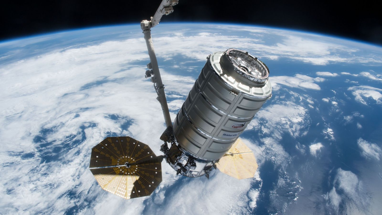 A file photo of a Cygnus shortly after being captured in April 2017. Photo Credit: NASA