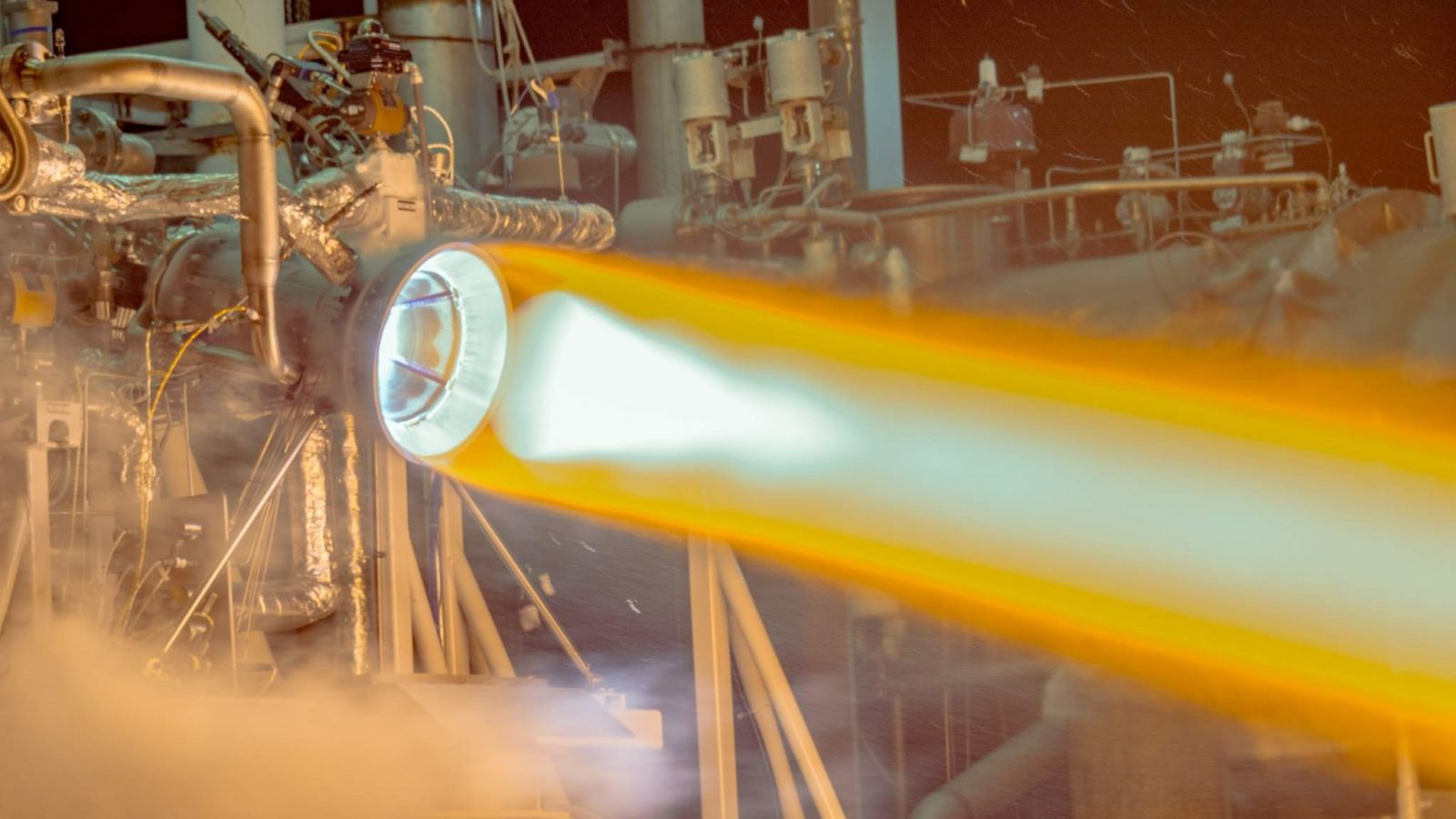 Aerojet Rocketdyne tests a full-scale, 3-D printed thrust chamber for the company's RL10 engine. Photo Credit: Aerojet Rocketdyne