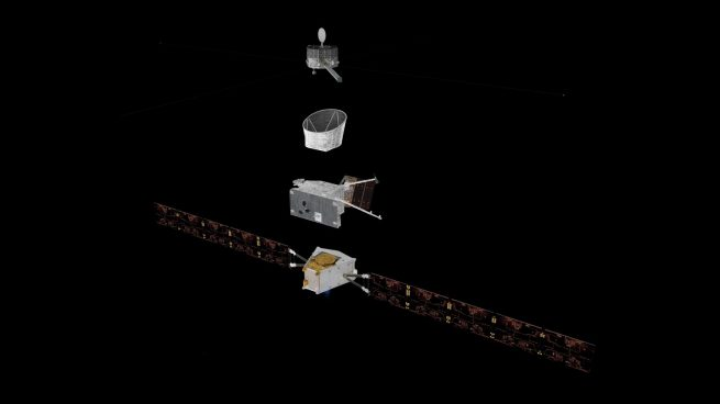 Exploded view of the main parts of the BepiColombo mission. Image Credit: ESA