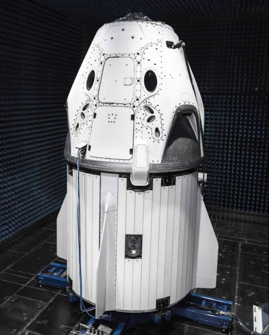 SpaceX CEO Elon Musk tweeted this picture of the company's Crew Dragon vehicle being prepared for testing in an anechoic chamber. Photo credit: Elon Musk