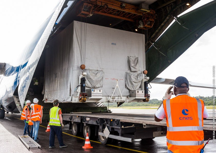 A component of the BepiColombo mission being unloaded at French Guiana. Photo Credit: ESA