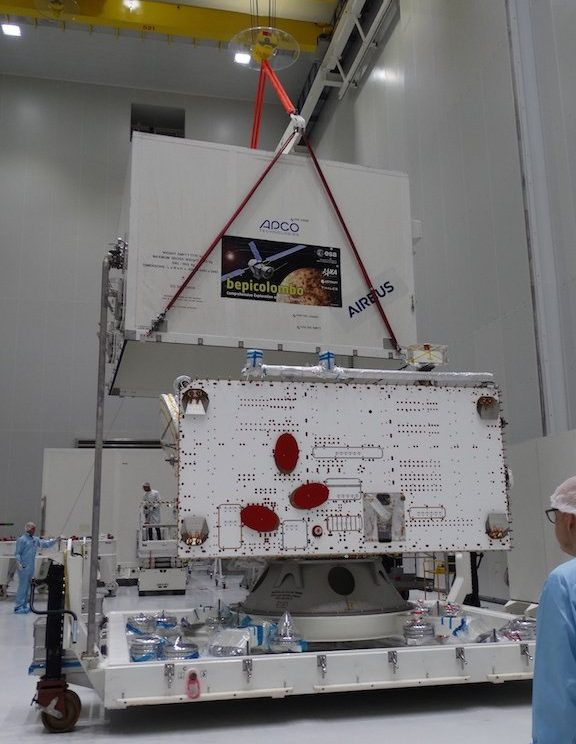 ESA's Mercury Planetary Orbiter is unpacked at the space center. Photo Credit: ESA