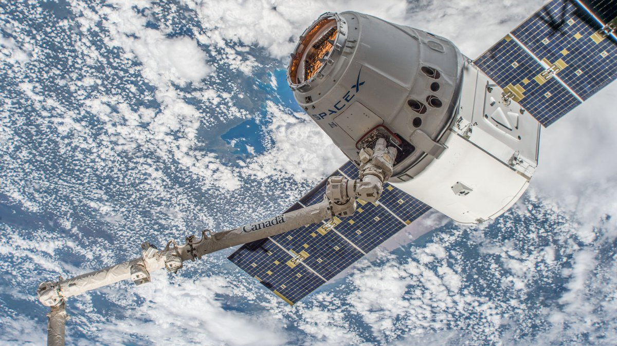CRS-14 Dragon is grappled after rendezvousing with the ISS on April 4, 2018. The spacecraft spent a month attached to the space station before returning on May 5, 2018. Photo Credit: NASA