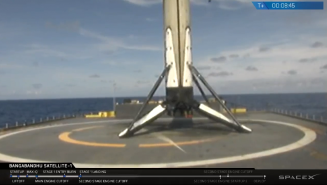 The Block 5 Falcon 9 first stage lands on Of Course I Still Love You drone ship downrange in the Atlantic Ocean. Photo Credit: SpaceX webcast