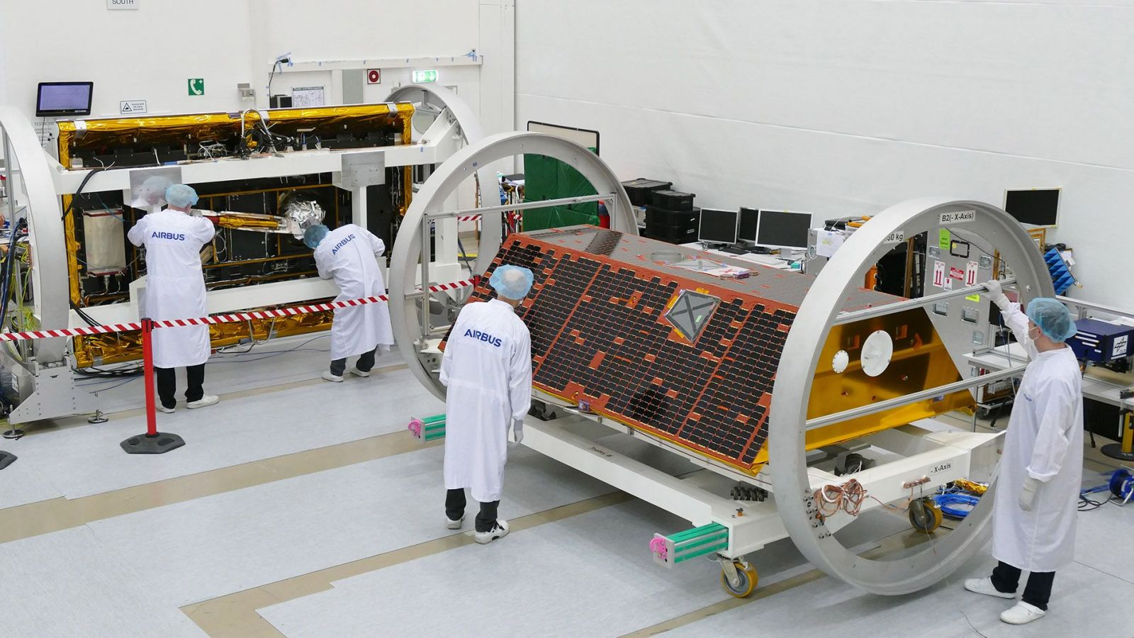 NASA's twin GRACE-FO satellites in a clean room in November 2017. Photo Credit: Mathias Pikelj / Airbus