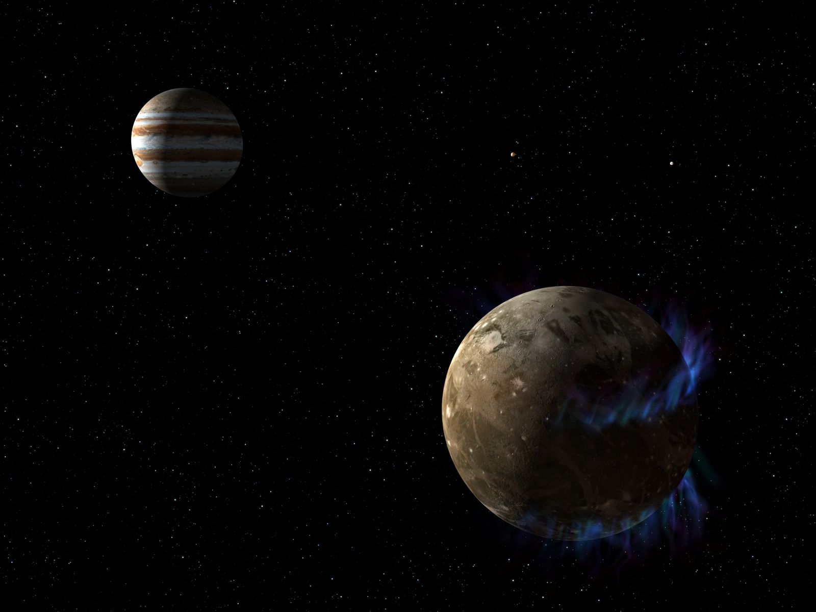 In this illustration, the moon Ganymede orbits the giant planet Jupiter. Ganymede is depicted with auroras, which were observed by NASA's Hubble Space Telescope. Image Credit: NASA/ESA