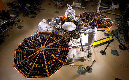 NASA's InSight Mars lander spacecraft in a Lockheed Martin clean room near Denver. Photo Credit: Lockheed Martin