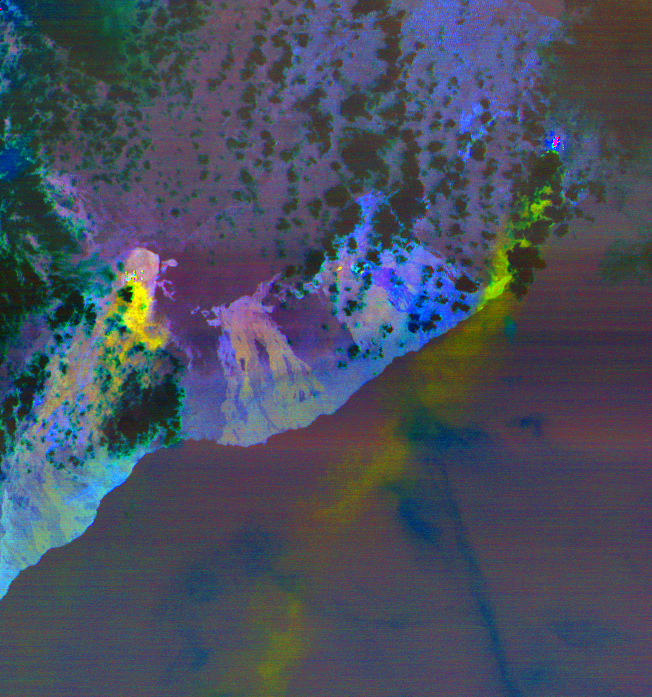 This image from May 6, 2018 shows the sulfur dioxide being released from the volcano in yellow and yellow-green. Image Credit: NASA/METI/AIST/Japan Space Systems, and U.S./Japan ASTER Science Team