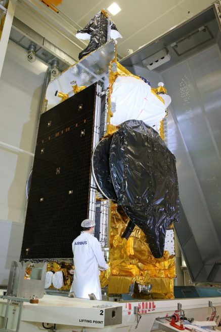 SES-12 satellite undergoes final inspection at the Airbus assembly facility prior to being shipped to the SpaceX hangar at Cape Canaveral Air Force Station for installation atop the Falcon 9 Block 4 rocket that will carry it to geostationary orbit 22,000 miles above the Indian Ocean. Photo Credit: Airbus