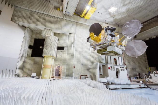 The Bangabandhu-1 satellite undergoing before being shipped to Florida for launch. Photo Credit: Thales Alenia Space