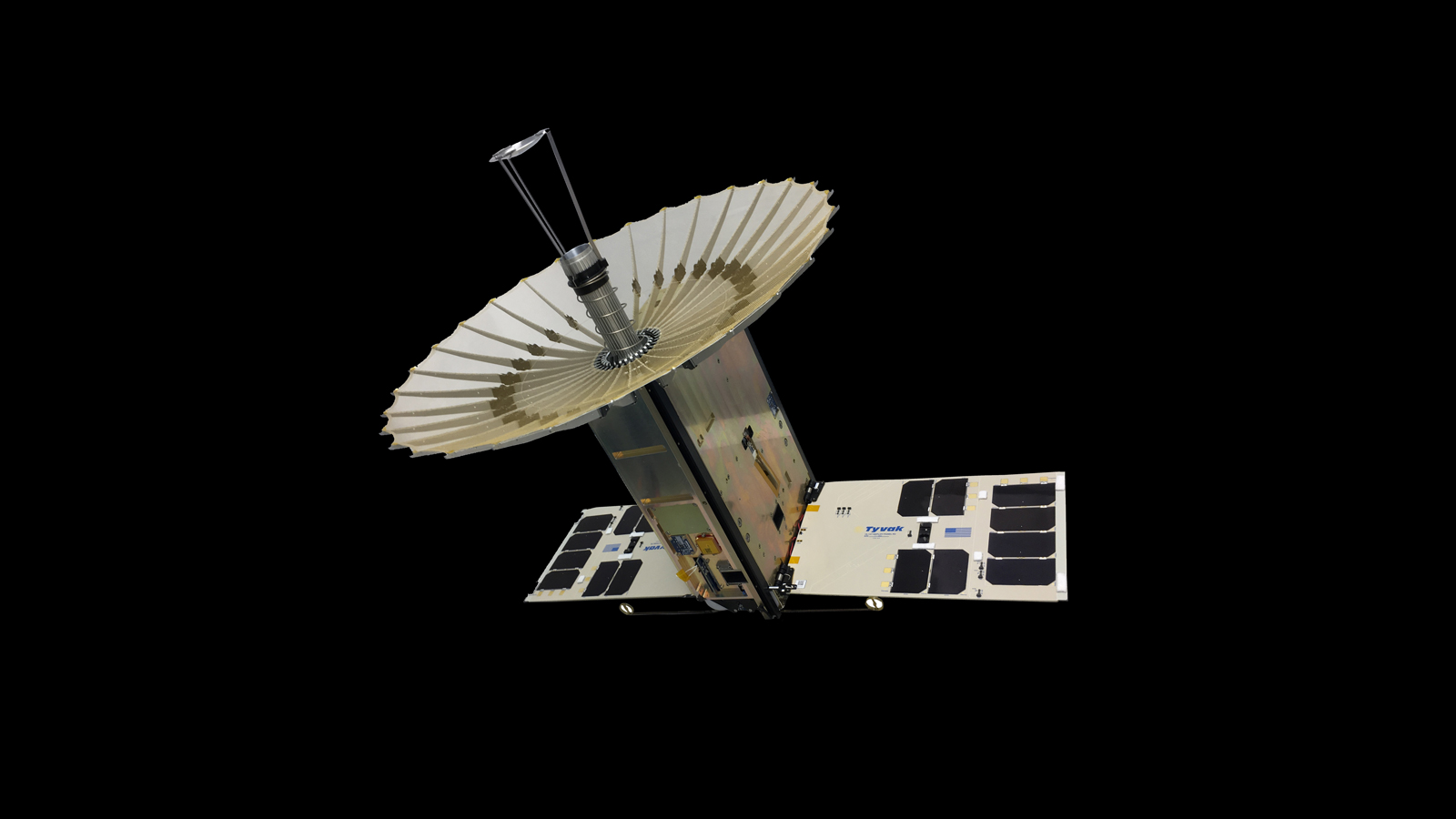 An artist's rendering of the RainCube 6U CubeSat with its antenna and solar panels fully deployed. It along with many other CubeSats, are heading to the ISS inside the OA-9 Cygnus spacecraft. Photo Credit: NASA / JPL-Caltech