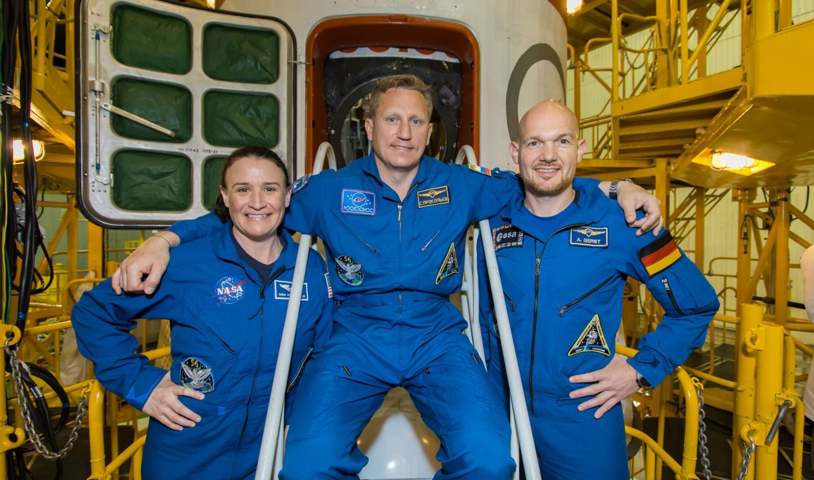 The Soyuz MS-09 prime crew. From left to right: Serena Aunon-Chancellor of NASA, Sergey Prokopyev of Roscosmos and Alexander Gerst of the European Space Agency. Photo Credit: Victor Zelentsov / NASA