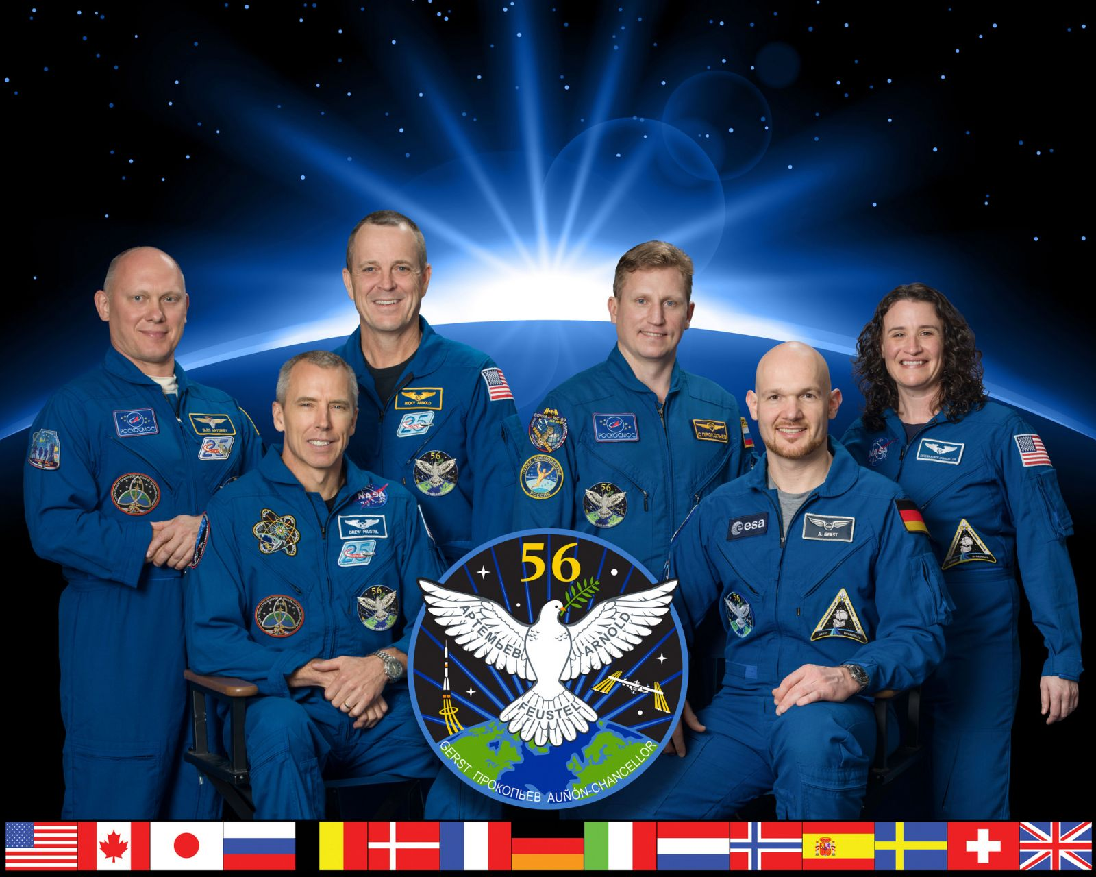 The Expedition 56 crew. Front row, from left to right: Drew Feustel and Alexander Gerst. Back row, from left to right: Oleg Artemyev, Ricky Arnold, Sergey Prokopyev and Serena Aunon-Chancellor. Photo Credit: NASA