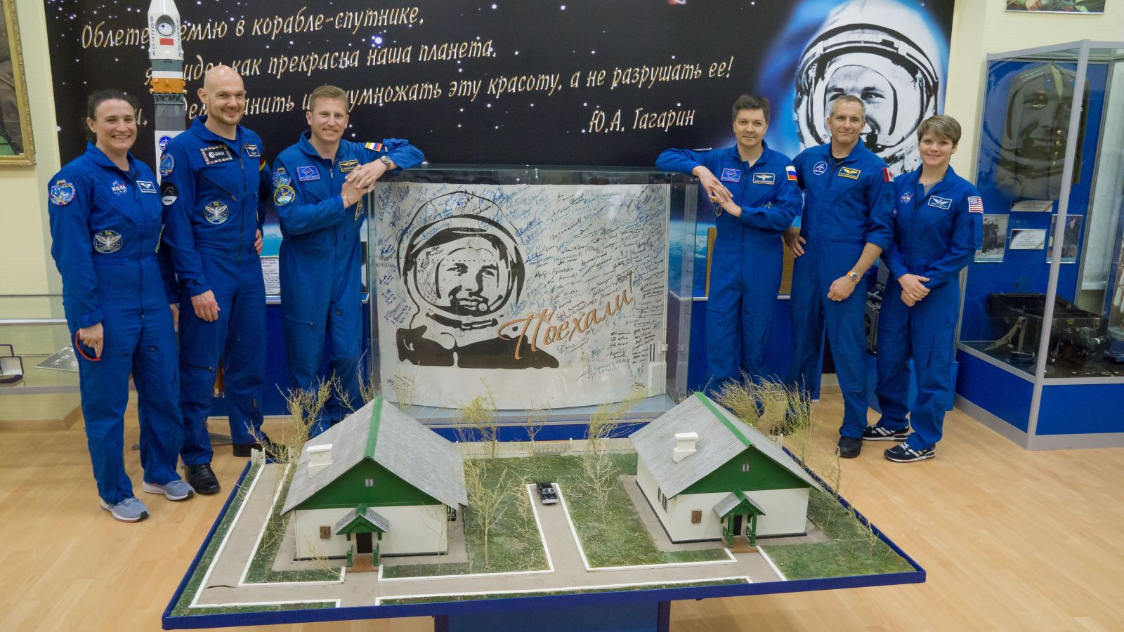 International Space Station Expedition 56 prime and backup crew stand next to a portrait of Yuri Gagarin, who was the first human to fly in space. On the left is the prime crew consisting of Serena Aunon-Chancelor of NASA, Alexander Gerst of ESA and Sergey Prokopyev of Roscosmos. On the right is the backup crew consisting of Oleg Kononenko of Roscosmos, David Saint-Jacques of the Canadian Space Agency and Anne McClain of NASA. Photo Credit: Victor Zelentsov / NASA