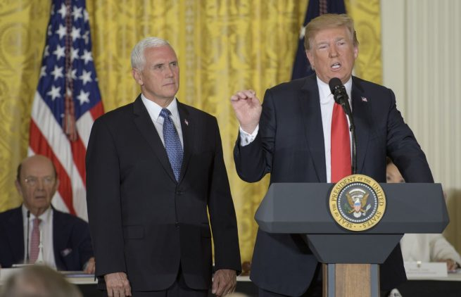 "President Trump during the opening remarks of the National Space Council. There, he called for the creation of the ""Space Force."" Photo Credit: Bill Ingalls / NASA"
