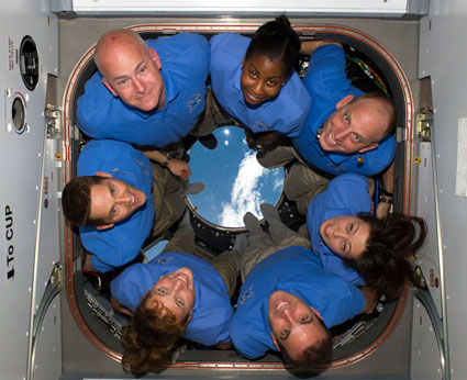 Clayton Anderson can be seen in the upper right of this crew portrait taken during the STS-131 mission. From upper left, commander Alan Poindexter, Stephanie Wilson, Anderson, Naoko Yamazaki, Richard Mastracchio. Dorothy M. Metcalf-Lindenburger and James Dutton. Photo Credit: NASA