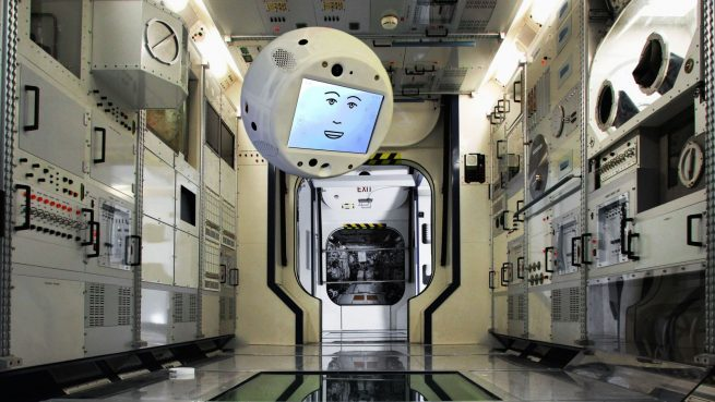 "CIMON ""floating"" on a mock-up of the International Space Station. Photo credit: Airbus"