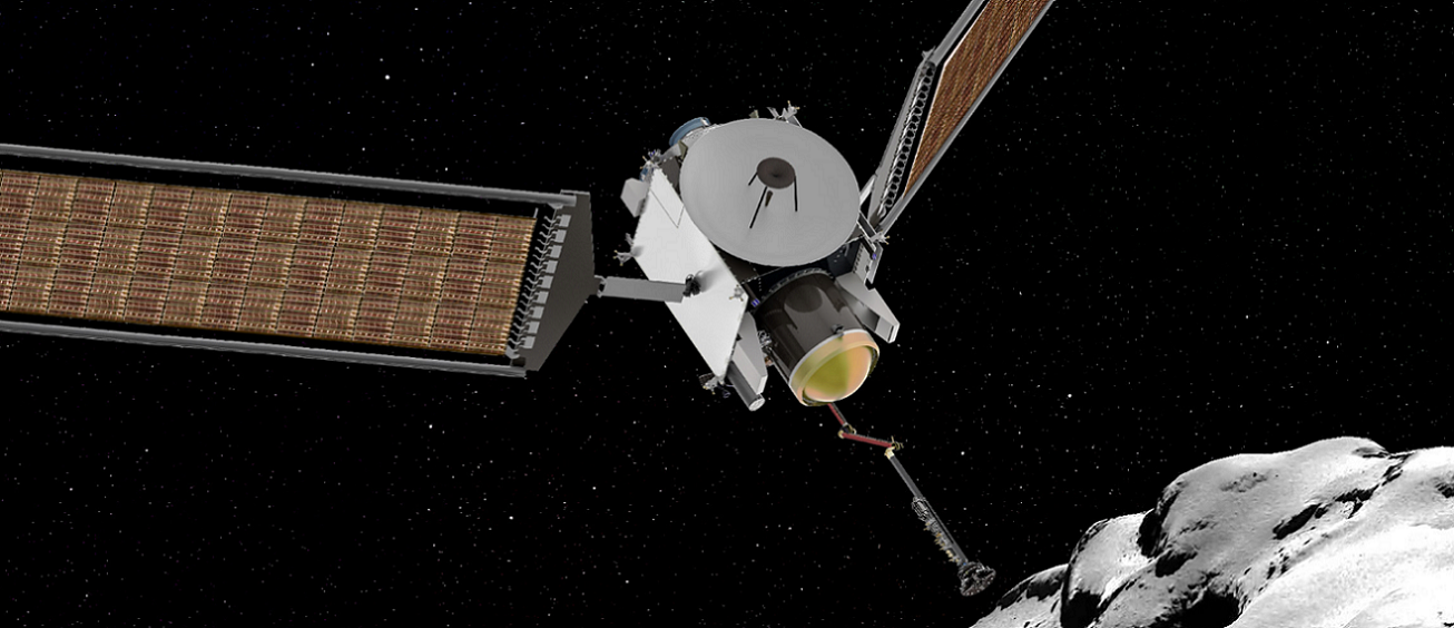 Artist's rendering of the CAESAR spacecraft acquiring a sample from the comet 67P/Churyumov–Gerasimenko.