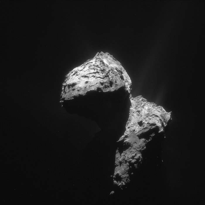 Comet 67P/Churyumov–Gerasimenko as seen by ESA's Rosetta mission on January 7, 2016.