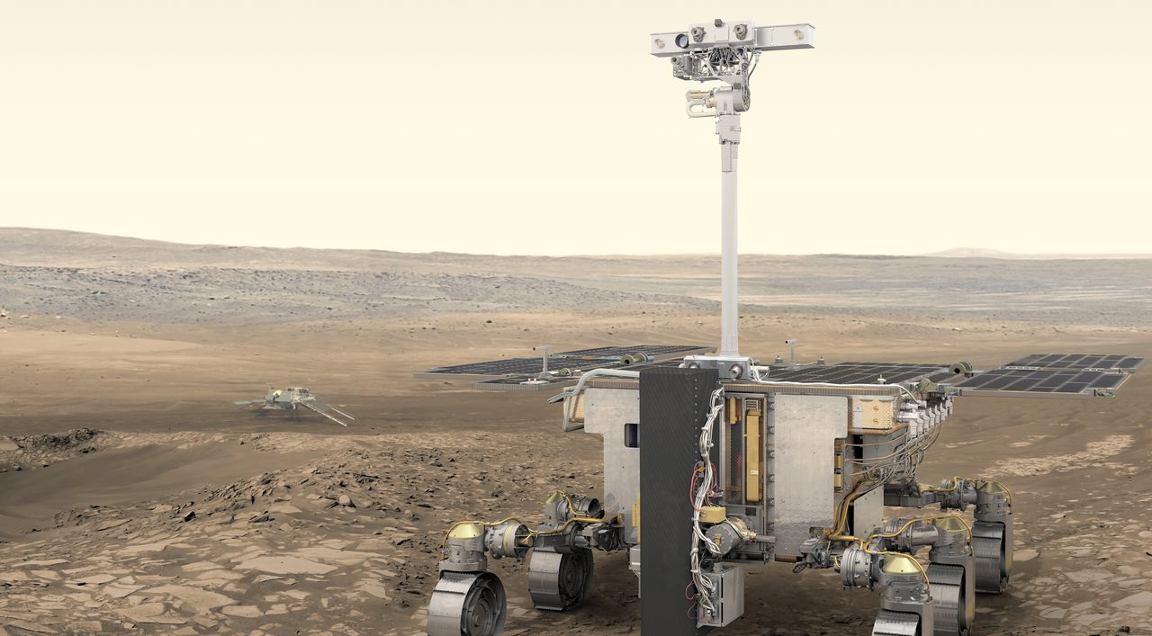 Artist's impression of the ExoMars rover and surface platform on the surface of Mars. Image Credit: ESA/ATG medialab