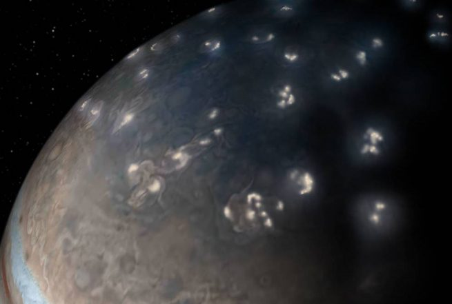 Artist impression of lightning in Jupiter's northern hemisphere. Information from the Juno spacecraft suggest a majority of the lightning activity on the gas giant is near its poles. Image Credit: NASA/JPL-Caltech/SwRI/JunoCam