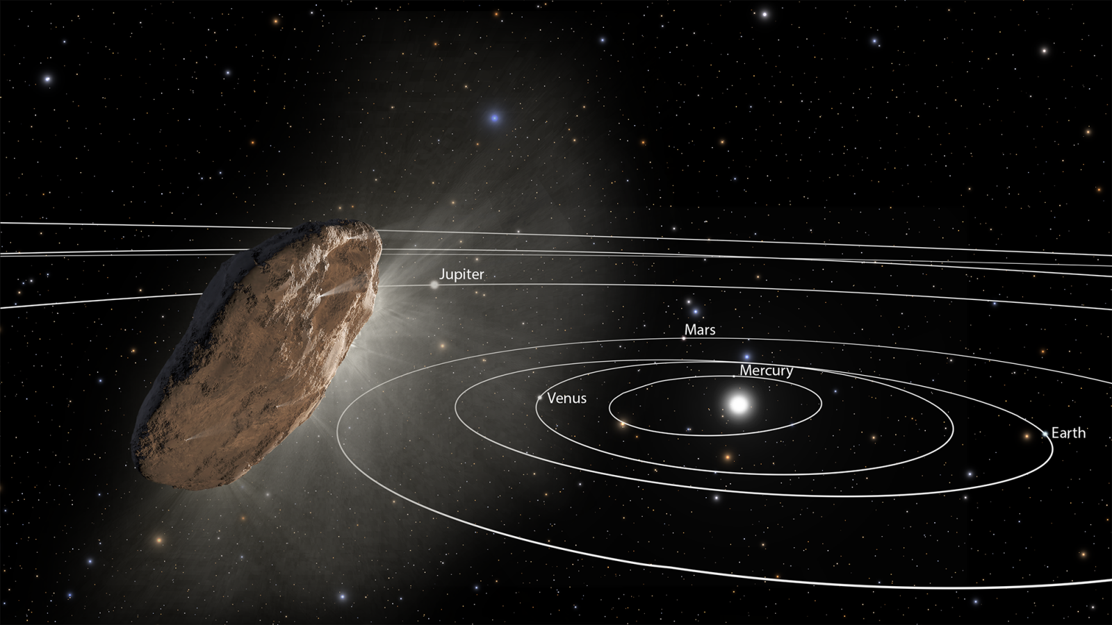 This illustration shows 'Oumuamua racing toward the outskirts of our solar system. As the complex rotation of the object makes it difficult to determine the exact shape, there are many models of what it could look like. Image and Caption Credit: NASA / ESA/STScI