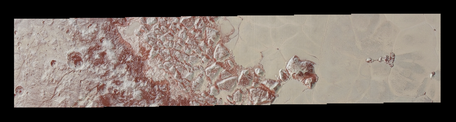 High-resolution images of Pluto taken by NASA's New Horizons spacecraft just before closest approach on July 14, 2015, reveal features, including dunes, as small as 270 yards or 250 meters across, from craters to faulted mountain blocks, to the textured surface of the vast basin called Sputnik Planitia. Enhanced color has been added from the global color image. This image is about 330 miles (530 kilometers) across. Image Credit: NASA/JHUAPL/SWRI