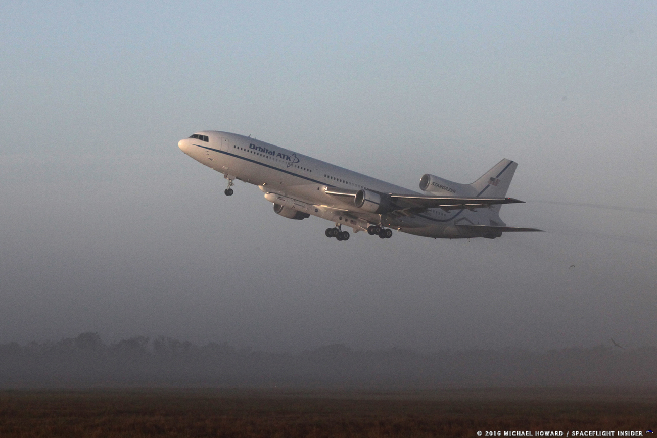 The Northrop Grumman L-1011 lifts off with the CYGNSS mission in December of 2016. Photo Credit: Mike Howard / SpaceFlight Insider