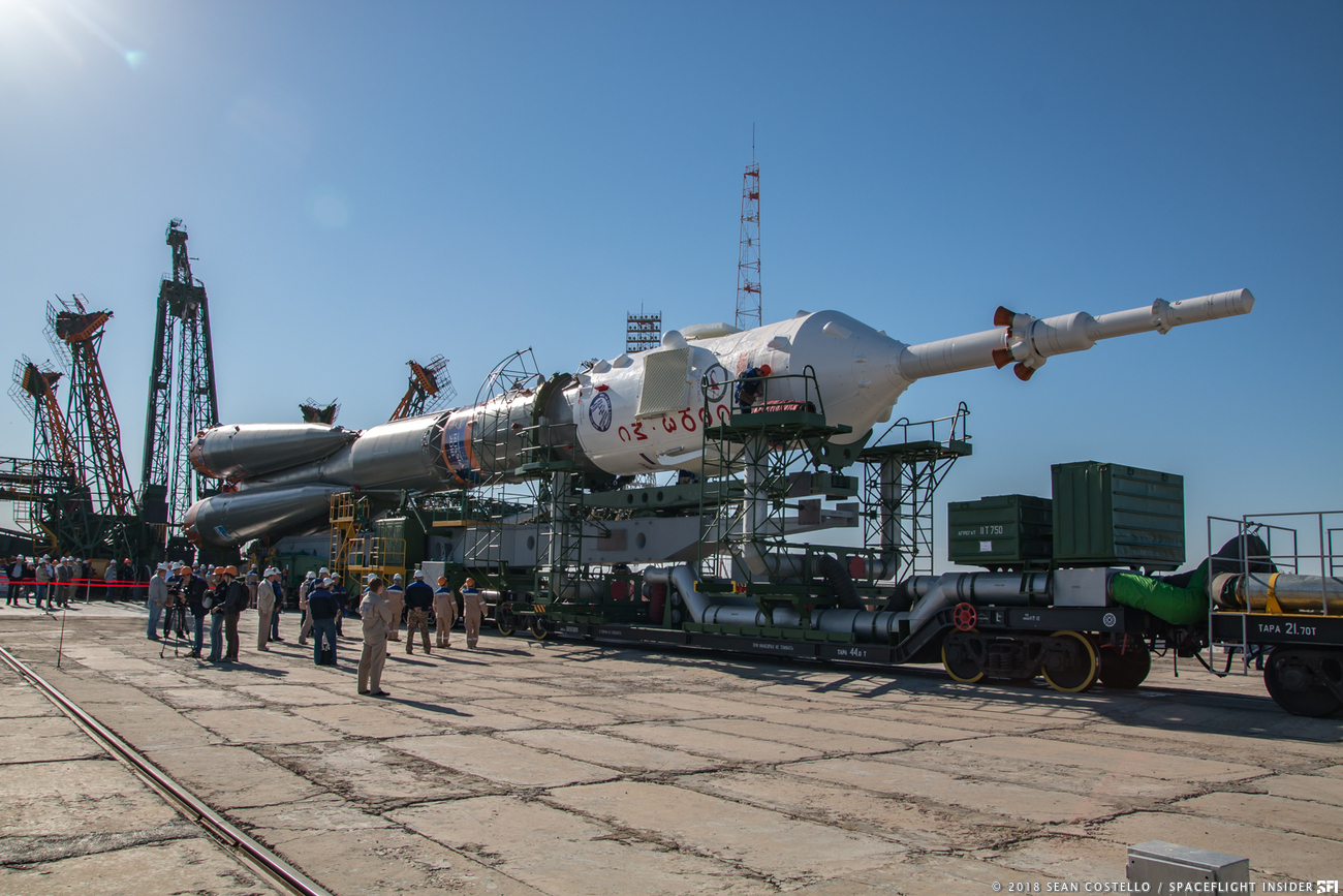 The Soyuz rocket with Soyuz MS-09 encapsulated is rolled to Pad 1/5 at Baikonur Cosmodrome. Photo Credit: Sean Costello / SpaceFlight Insider