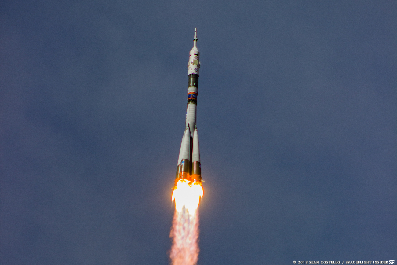 A Soyuz-FG rocket lifts off from the Baikonur Cosmodrone in Kazakhstan with three members of the Expedition 56 crew on Wednesday, June 6, 2018. Photo Credit: Sean Costello / SpaceFlight Insider