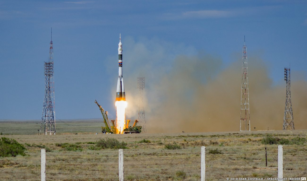 The Soyuz MS-09 spacecraft is launched with three members of the Expedition 56 crew bound for the International Space Station. Photo Credit: Sean Costello / SpaceFlight Insider
