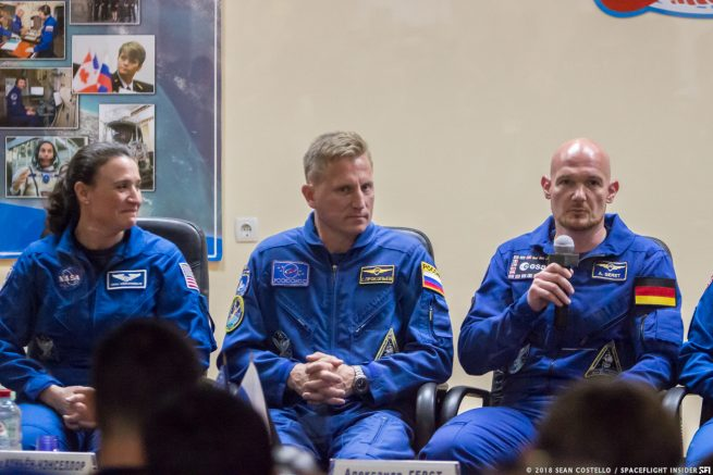 NASA astronaut Serena Aunon-Chancellor, left, answers questions during the pre-launch crew press conference along side Russian cosmonaut Sergey Prokopyev, center, and European Space Agency astronaut Alexander Gerst. Photo Credit: Sean Costello / SpaceFlight Insider
