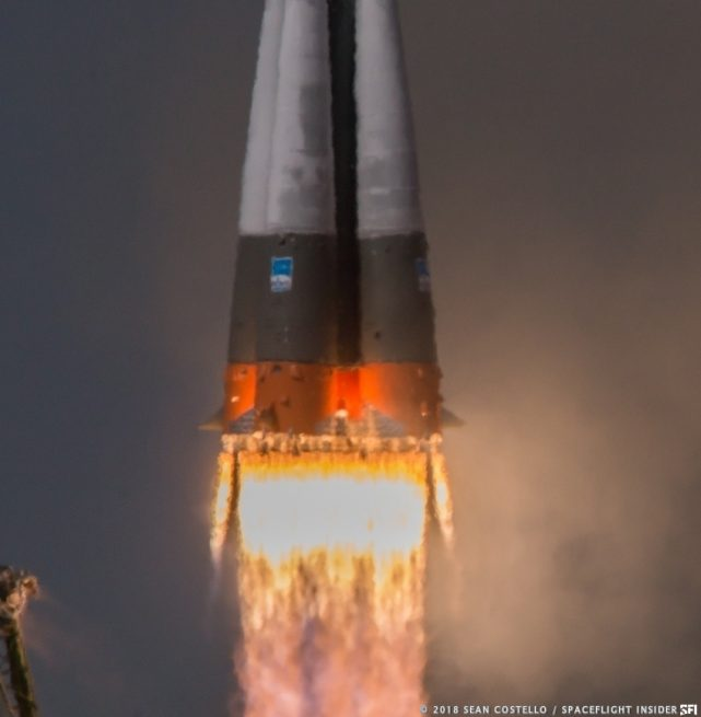 The Soyuz-FG rocket with Soyuz MS-09 lifts off the pad. Photo Credit: Sean Costello / SpaceFlight Insider