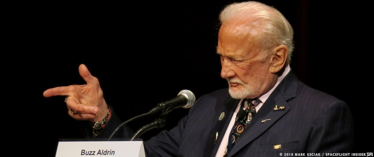 Buzz Aldrin during a conference regarding crewed missions to Mars. Photo Credit: Mark Usciak / SpaceFlight Insider