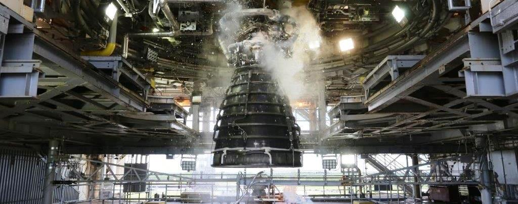 An AR-22 engine during testing at NASA's Stennis Space Center on June 27, 2018. Photo Credit: NASA