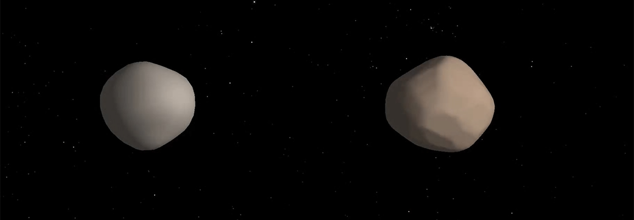 Artist's concept of what binary asteroid 2017 YE5 might look like. The two objects showed striking differences in radar reflectivity, which could indicate that they have different surface properties. Image Credit: NASA/JPL-Caltech