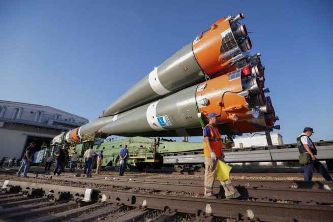 The Soyuz 2.1a rocket with Progress MS-09 encapsulated is rolled via rail from its integration hangar to the launch site. Photo Credit: Roscosmos