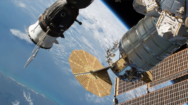 A view of the OA-9 Cygnus with Soyuz MS-09 docked in the background. Photo Credit: NASA