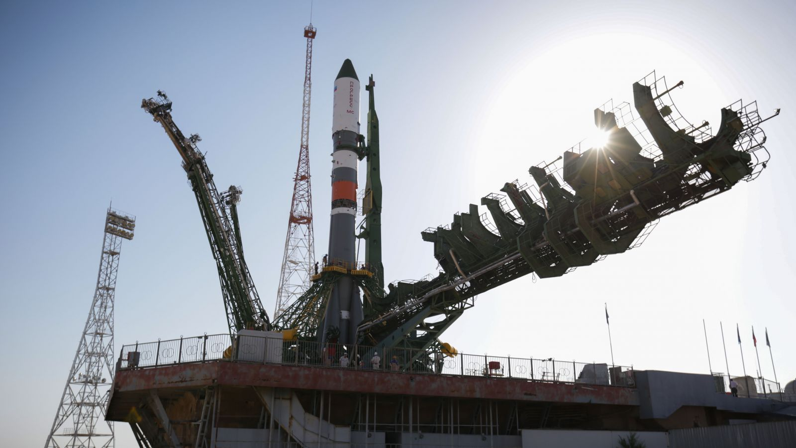The Soyuz 2.1a rocket with the Progress MS-09 spacecraft encapsulated on top stands vertical at launch pad 31/6 in Baikonur Cosmodrome. Photo Credit: Roscosmos