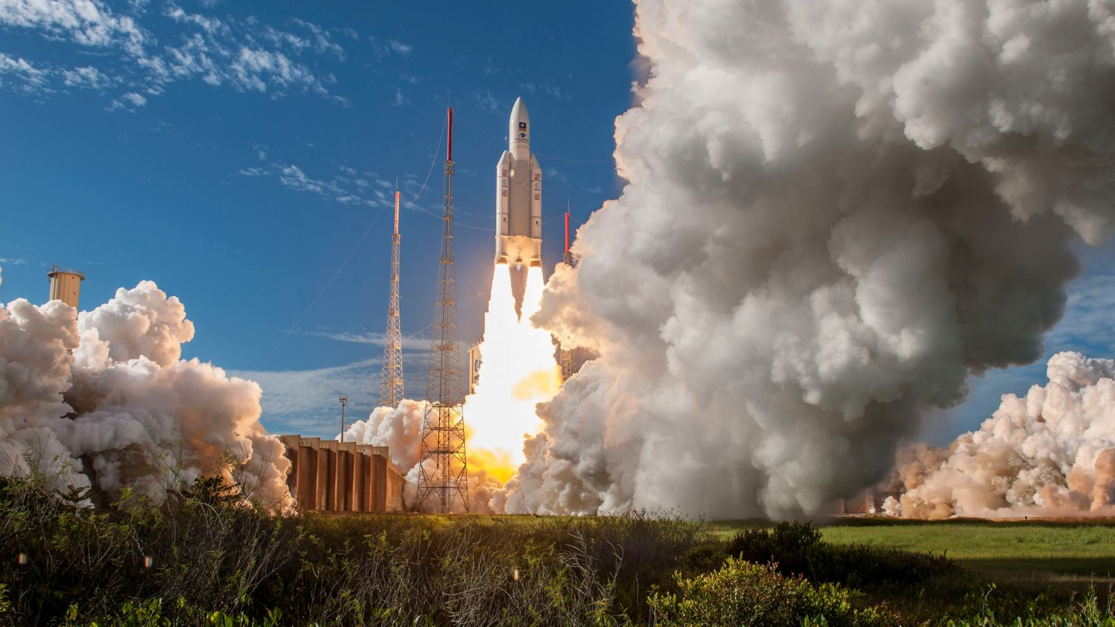 An Ariane 5 ES rocket launches to send four Galileo navigation satellites into space. Photo Credit: Arianespace