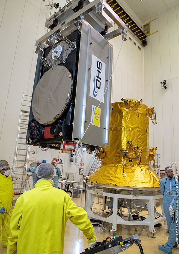 One of the four Galileo satellites is mated to the payload adaptor before being encapsulated inside the Ariane 5's payload fairing. Photo Credit: Arianespace