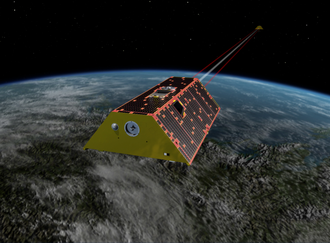 Artist's depiction of GRACE FO spacecraft in orbit above Earth Image Credit NASA 02