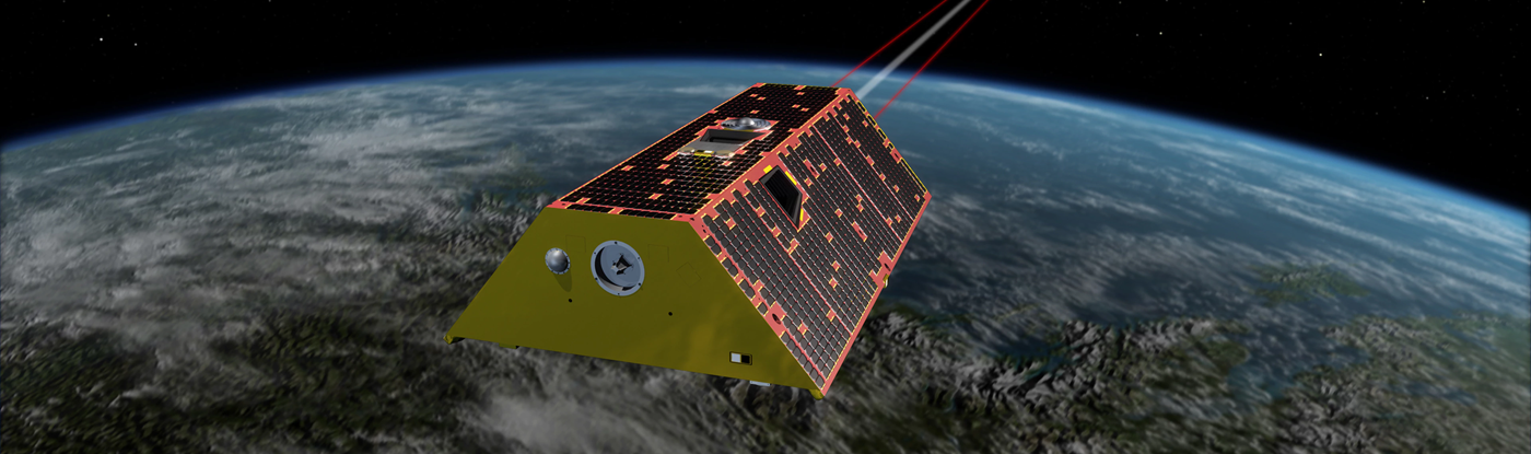 Artist's depiction of GRACE FO spacecraft in orbit above Earth Image Credit NASA
